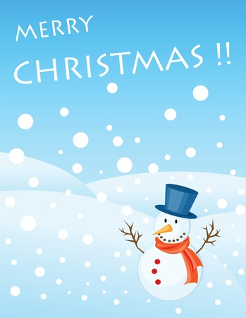snowman illustrations for christmas greetings card. Stock Vector - 8337541