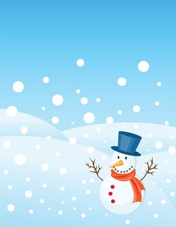 snowman illustrations for christmas greetings card with copy space. Vector