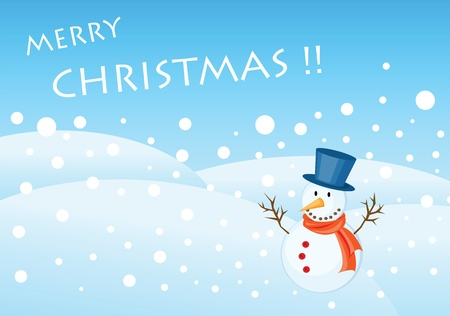 snowman illustrations for christmas greetings card. Stock Vector - 8337540