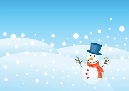 snowman illustrations for christmas greetings card with copy space.