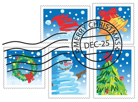 christmas design elements, stamps with christmas theme. Stock Vector - 8337544