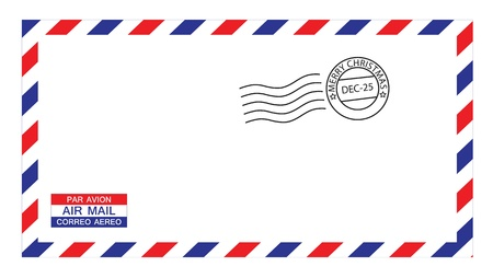 avion: illustrations of airmail envelope with christmas postmark, put your own stamp.