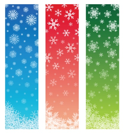 vertical banner: christmas banners with fading snowflakes, 3 colors. standard size as vertical banner size (skycraper) 160 x 600. EPS 10 version, transparency is used. Illustration
