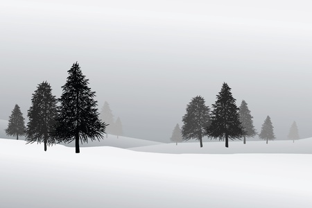 peaceful scene: illustrations of snow scene, peaceful. Copy space for texts.