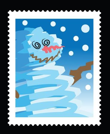 timbre postal: ilustraciones de sello de Navidad con esbozo de muñeco de nieve.