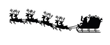 ?    ?     ?    ? �sledge: silueta de santa claus y su trineo, para el dise�o de Navidad
