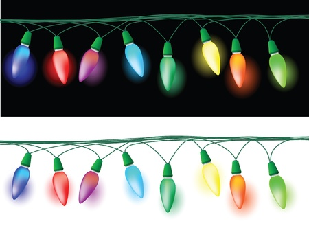 light and dark: illustrations of christmas light decorations, glowing effect in the dark and white background.