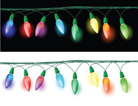 luces navidad: ilustraciones de Navidad luz decoraciones, efecto brillante en el fondo oscuro y blanco.