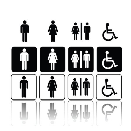 male symbol: symbols for toilet, washroom, restroom, lavatory. Illustration
