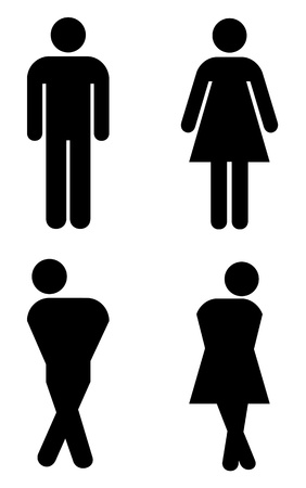toilet sign, with silhouettes like holding pee. Vector