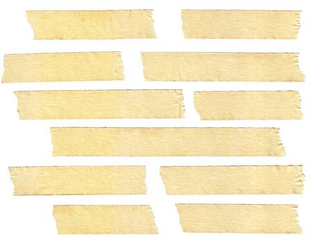 masking: masking tape textures with varied length, isolated on white, set 1 of 2. Stock Photo