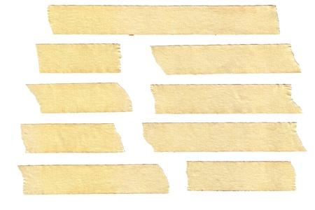 Masking tape texturen met gevarieerde lengte, geïsoleerd op wit, set 2 van 2. Stockfoto