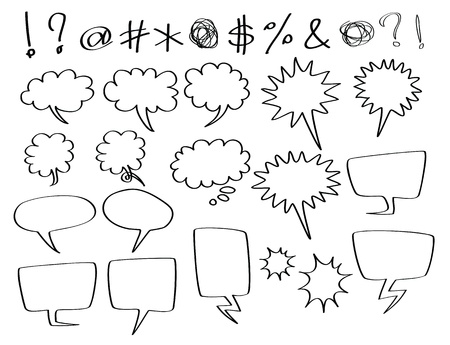 dialog balloon: hand-drawn speech and thought bubbles, in comic style.