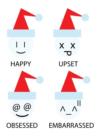 obsessed: christmas icons of snowman as emoticons smiley Illustration