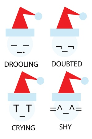 drooling: christmas icons of snowman as emoticons smiley Illustration