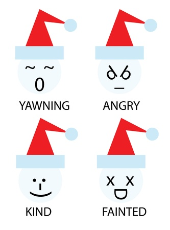 fainted: christmas icons of snowman as emoticons smiley Illustration