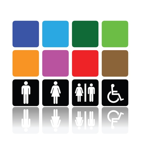 sexes: symbols for toilet, washroom, restroom, lavatory. Illustration