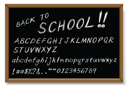 back to school message, as white chalk writing. Vector