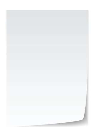 sheet of paper: blank paper with page curl, realistic looking.