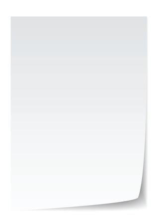 buscando el papel en blanco con doblez de página, realista.