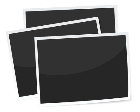 a stack of 3 photograph prints, replace with own image. realistic looking