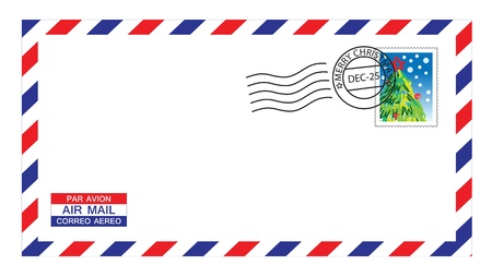 illustrations of airmail envelope with christmas stamps and post mark.