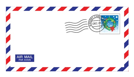 letter envelope: illustrations of airmail envelope with christmas stamps and post mark.
