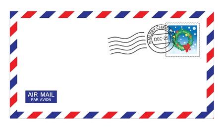 envelope with letter: illustrazioni di posta aerea busta con francobolli Natale e post mark. Vettoriali