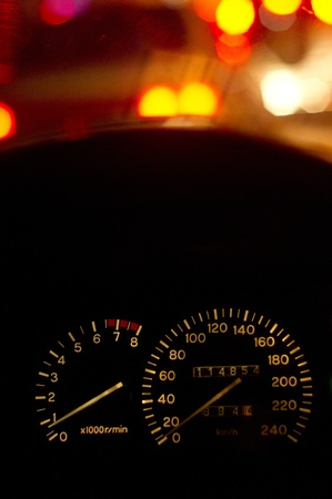 a speedometer showing stop position of a car at night, in traffic jam. Stock Photo - 9357783