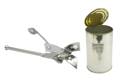 can opener: a can opener and a opened tin can, to illustrate solution concept, both items are with clipping path.