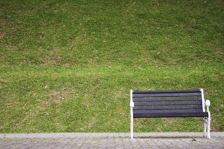 banc de parc: un seul banc dans un parc, en attente pour une personne.