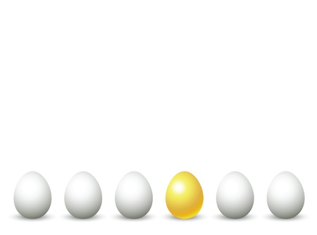 gold egg: golden egg among common eggs, to illustrate investment concept.