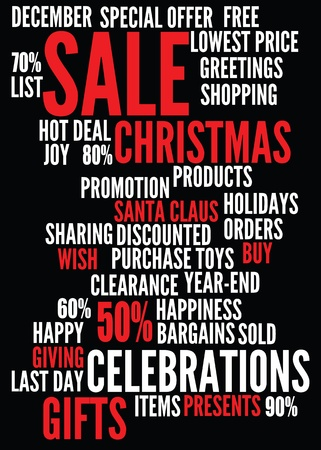 christmas sale background with montages of keywords.