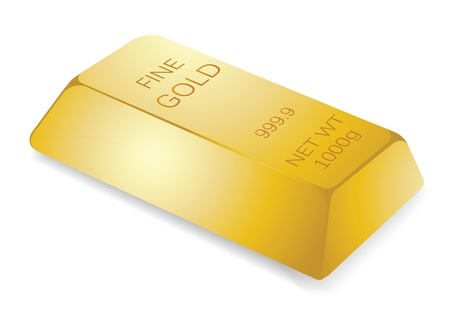 lingote de oro: Ilustraci�n de la barra de oro, concepto financiero.