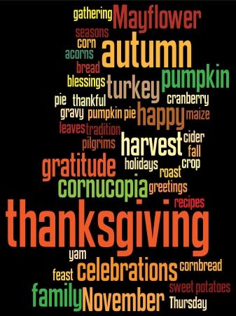 accion de gracias: Fondo de acci�n de gracias, con distribuci�n aleatoria de palabras de acci�n de gracias. Vectores