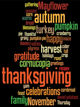 thanksgiving background, with random layout of thanksgiving words. Vector