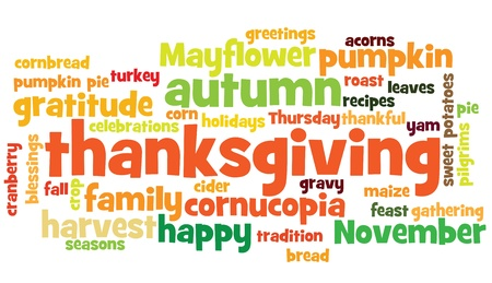 typo: thanksgiving background, with random layout of thanksgiving words.