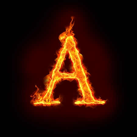 fire alphabets in flame, letter A Stock Photo