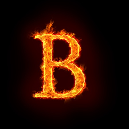 metal letter: fire alphabets in flame, letter B