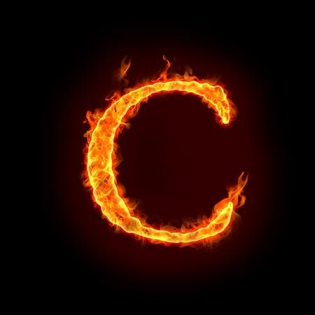 resplandor: alfabetos de fuego en llamas, letra c