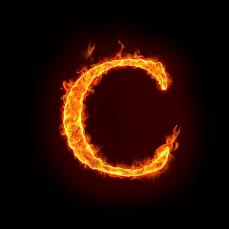 fiery: fire alphabets in flame, letter C