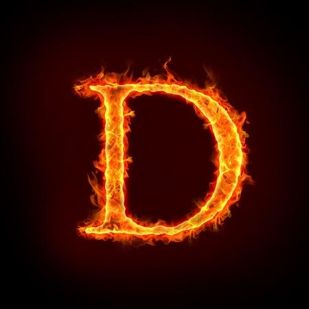 resplandor: alfabetos de fuego en llamas, letra d