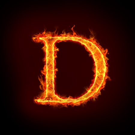 fire font: fire alphabets in flame, letter D Stock Photo