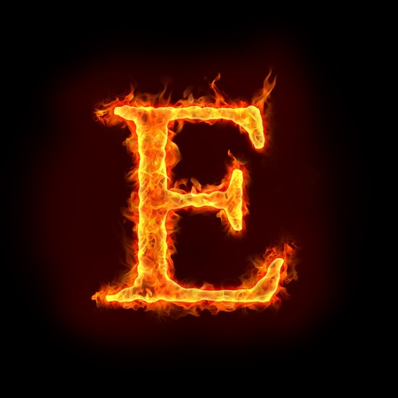 burning alphabet: fire alphabets in flame, letter E Stock Photo