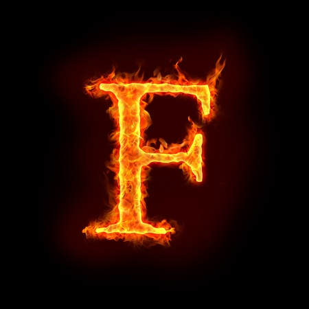 burning letter: fire alphabets in flame, letter F Stock Photo