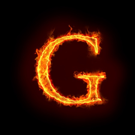 burning alphabet: fire alphabets in flame, letter G