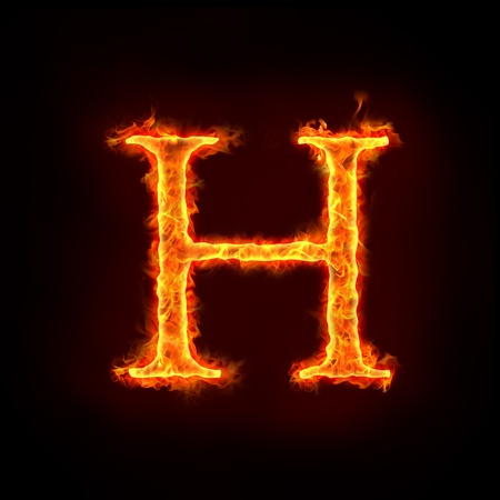 fiery font: fire alphabets in flame, letter H
