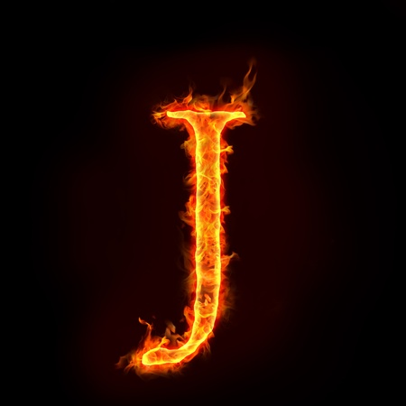 flame logo: fire alphabets in flame, letter J