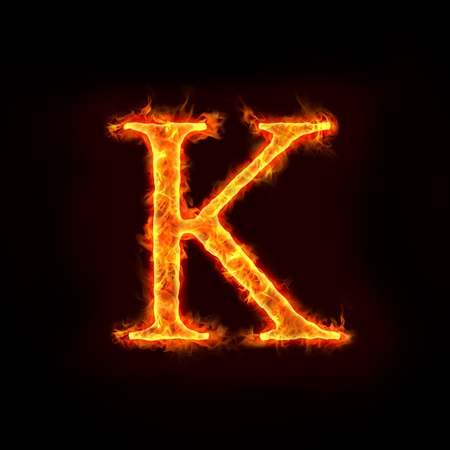 hot temperature: fire alphabets in flame, letter K
