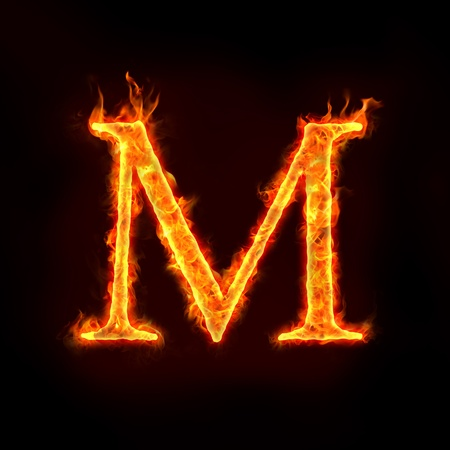 fiery: fire alphabets in flame, letter M